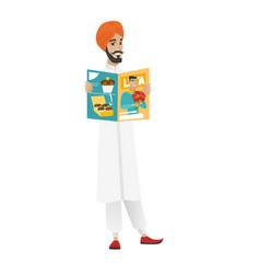 Successful hindu businessman reading magazine vector