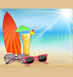 Summertime in beach with drinks and surfboard vector
