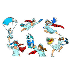 Super hero nurse set collection vector