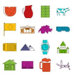 switzerland icons doodle set vector image