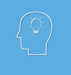 symbol of brainstorm icon cut from white paper vector image