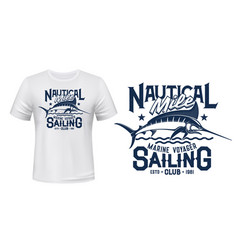 t-shirt print with marlin fish fishing club mascot vector image