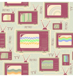 tv seamless patternVintage background on old vector image