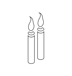 Two burning candles icon outline style vector image