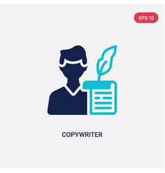 Two color copywriter icon from blogger and vector