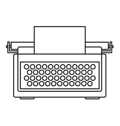 Typewriter icon outline style vector