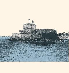 Venetian fortress in rhodes vector