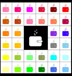Wallet sign with currency symbols felt vector