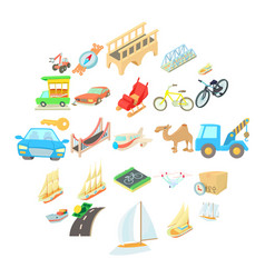 water carriage icons set isometric style vector image