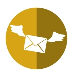 Winged email envelope mail express shadow vector