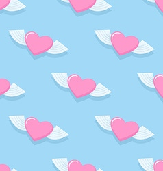 Winged heart seamless pattern background vector