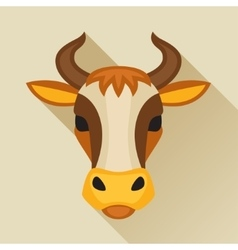 with cow head in flat design style vector image