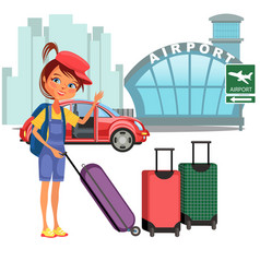 womanan and her luggage came car and ready to vector image