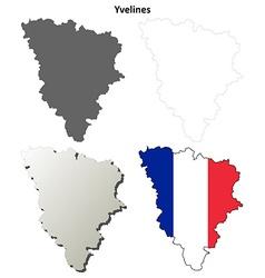 Yvelines ile-de-france outline map set vector