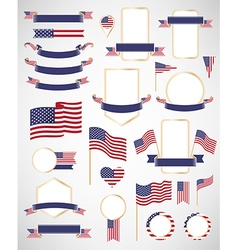 American flag decoration elements vector image vector image