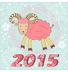 Concept 2015 new years card with cute goat vector image