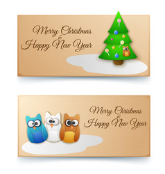 holiday winter horizontal banners vector image vector image