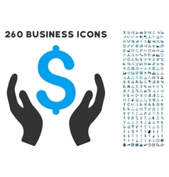 Money Care Hands Icon with Flat Set vector image vector image