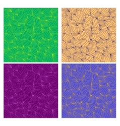Set of artistic wavy hand drawn seamless patterns vector image vector image