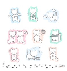 Set of sketch with cats vector image vector image