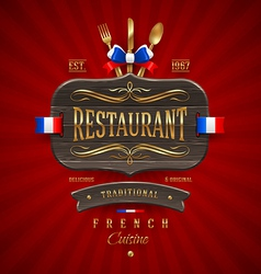 Vintage wooden sign for French restaurant vector image vector image