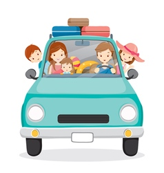 Family on Car Driving to Travel vector image