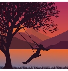 girl swing in tree near lake during sunset enjoy vector image