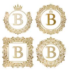 golden letter b vintage monograms set heraldic vector image vector image