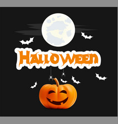 happy halloween black banner pumpkin vector image vector image