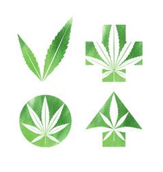 marijuana watercolor signs vector image vector image