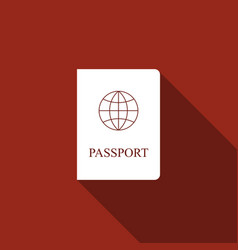 passport flat icon with long shadow vector image vector image