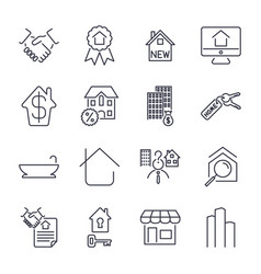 real estate thin icons handshake contract vector image