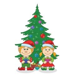 Christmas elves and fir tree vector image