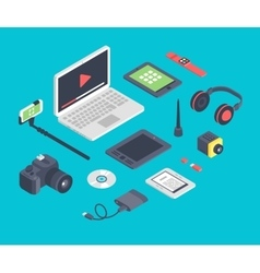 set of isometric designer workplace table vector image