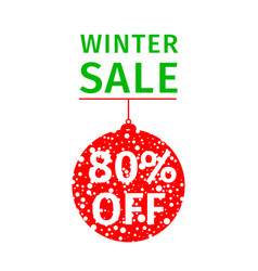 winter sale banner hanging red ball vector image