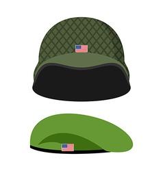 Green Beret Army helmet Military set of headgear vector image