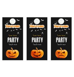 happy halloween black banner set pumpkin vector image