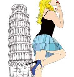 A big kiss from Pisa vector image