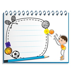 A notebook with a drawing of a boy playing vector image