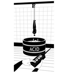 A tied man is hanging on pool with acid vector