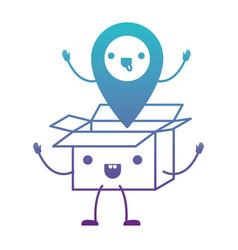 animated opened kawaii cardboard box with kawaii vector image