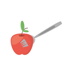 apple fruit fork food picnic vector image