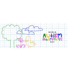 Autism awareness day children doodle cartoon vector