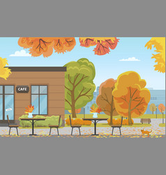 Autumn city park with tables near cafe building vector
