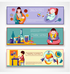 Baby Nutrition Banner Set vector