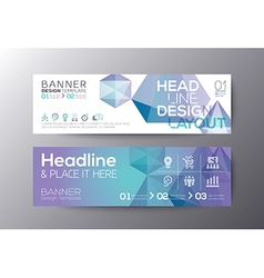 Banners template with abstract polygon background vector