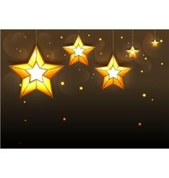 Big golden stars on dark background vector image