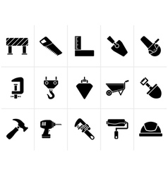 Black Construction industry and Tools icons vector image