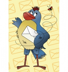 blue bird with an envelope vector image