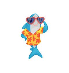 blue shark in hawaiian shirt and sunglasses vector image